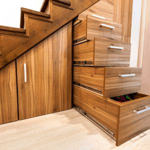 stair storage for a smaller build